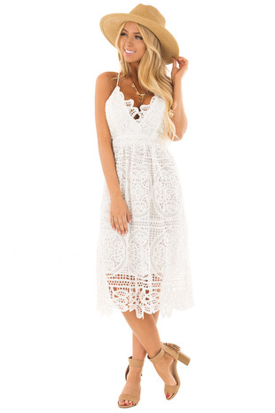 White Crochet Spaghetti Strap Mini Dress front full body