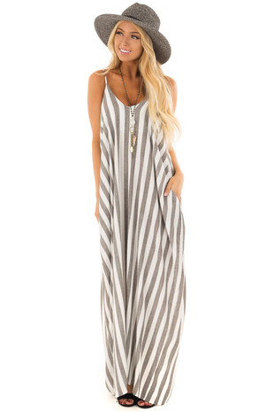 Charcoal and Ivory Striped Cocoon Maxi Dress with Pockets front full body