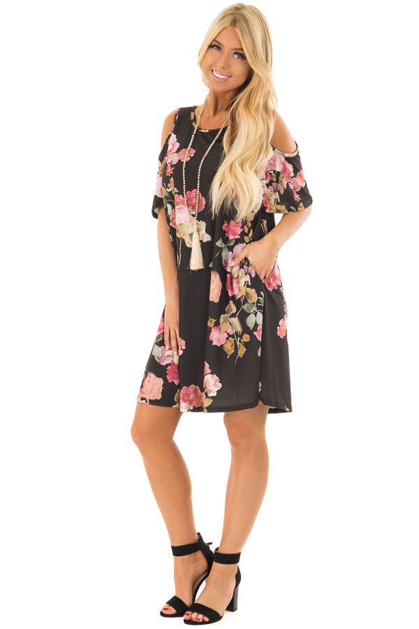 Black Watercolor Cold Shoulder Floral Dress with Pockets front full body