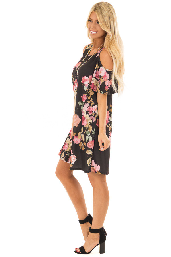 Black Watercolor Cold Shoulder Floral Dress with Pockets side full body