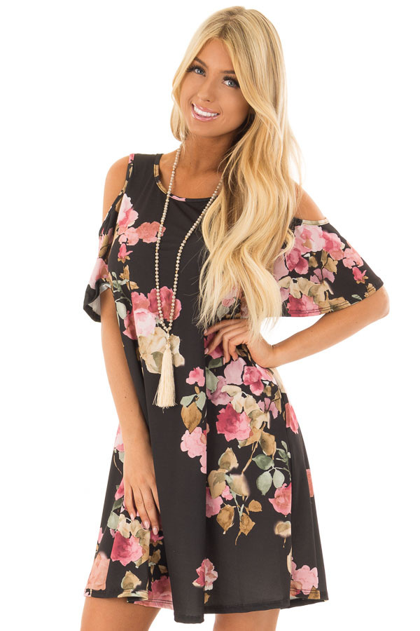 Black Watercolor Cold Shoulder Floral Dress with Pockets front close up