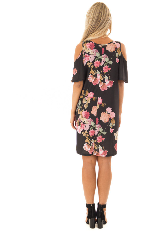Black Watercolor Cold Shoulder Floral Dress with Pockets back full body