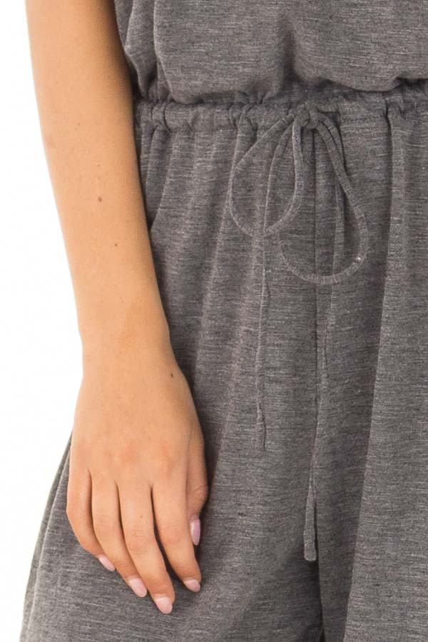 Charcoal Sleeveless Jumpsuit with Back Shirring Detail detail