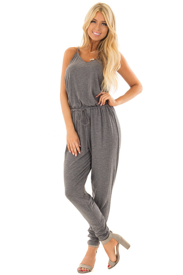 Charcoal Sleeveless Jumpsuit with Back Shirring Detail front full body