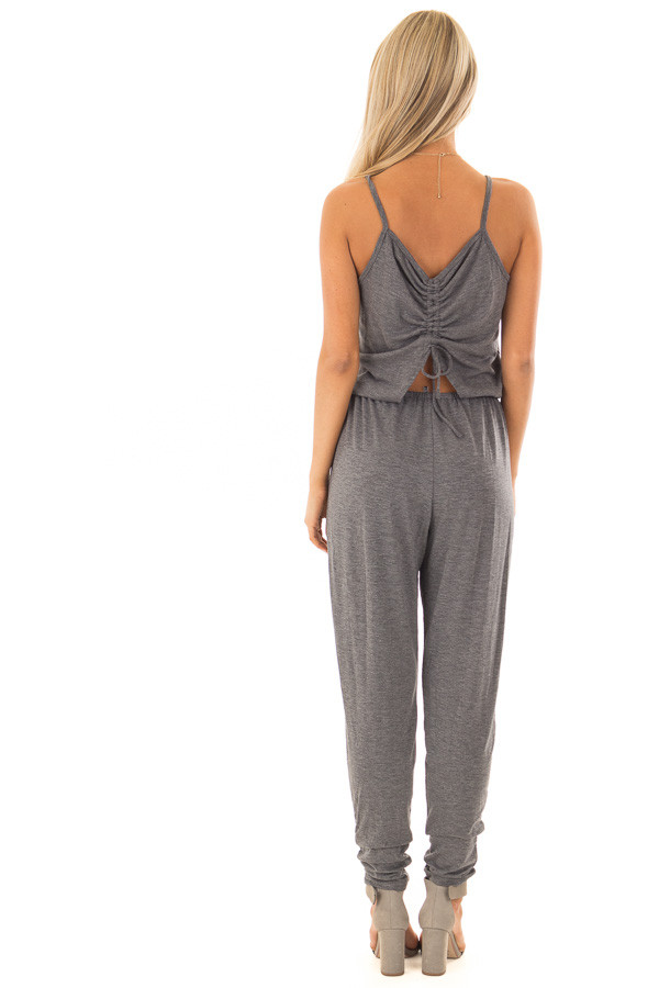 Charcoal Sleeveless Jumpsuit with Back Shirring Detail back full body