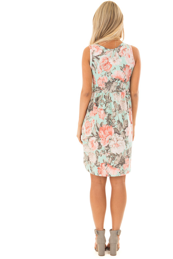 Mint Floral Print Sleeveless Babydoll Dress with Pockets back full body