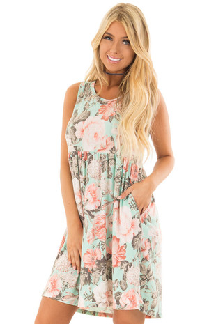 Mint Floral Print Sleeveless Babydoll Dress with Pockets front close up