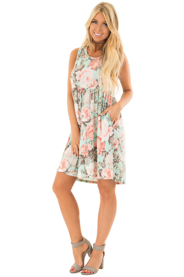 Mint Floral Print Sleeveless Babydoll Dress with Pockets front full body