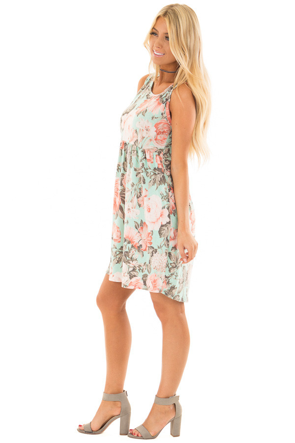 Mint Floral Print Sleeveless Babydoll Dress with Pockets side full body