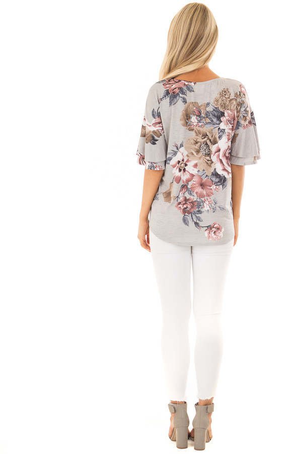 Steel Grey Floral Print Top with Criss Cross Neckline back full body