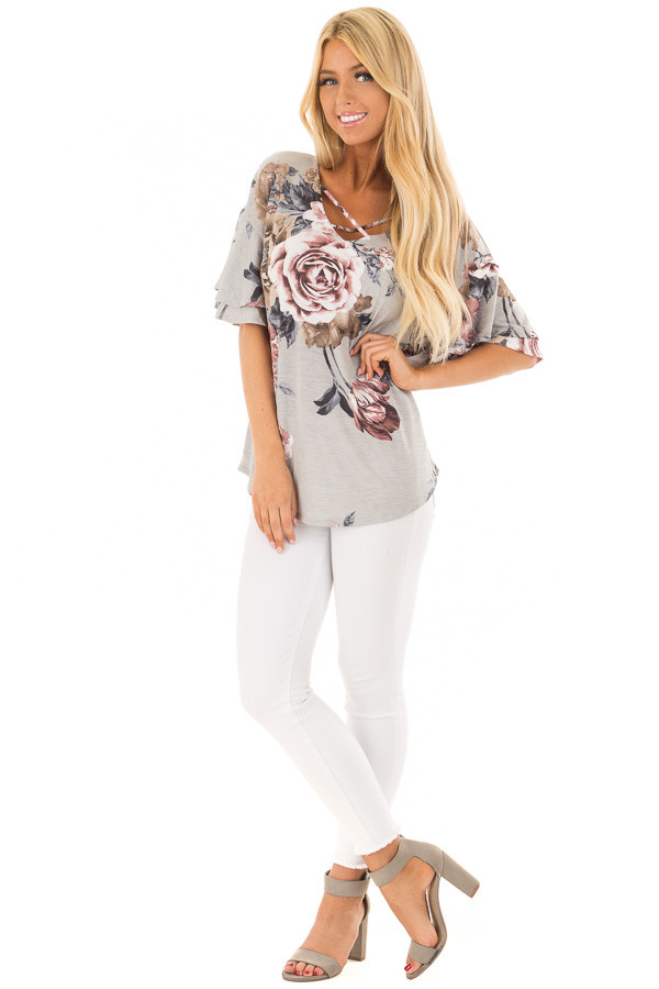 Steel Grey Floral Print Top with Criss Cross Neckline front full body