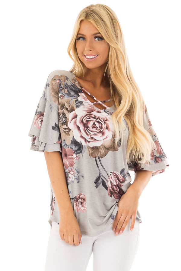Steel Grey Floral Print Top with Criss Cross Neckline front close up