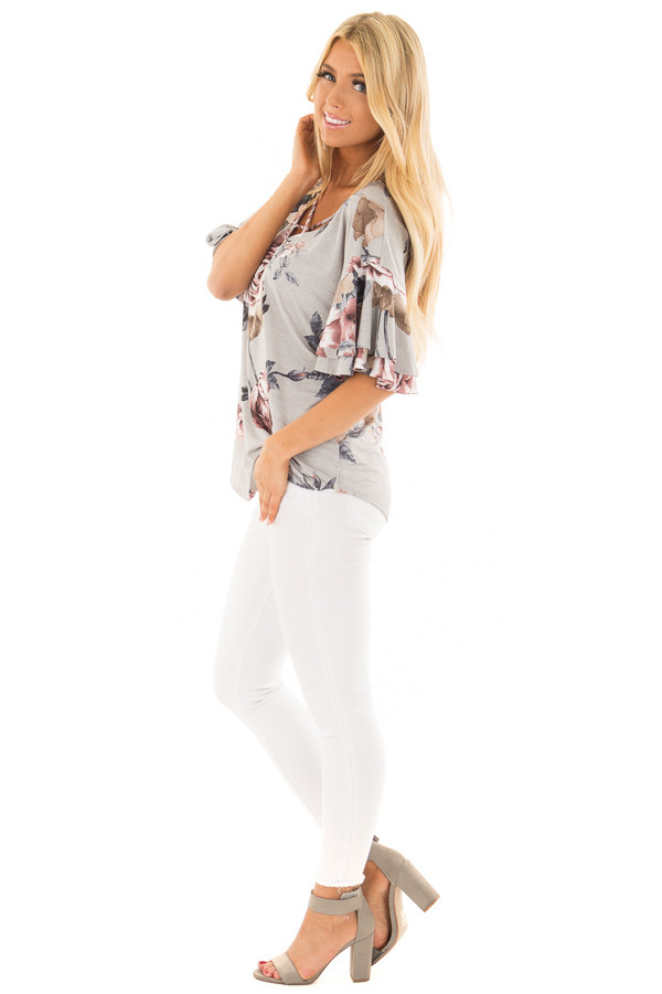 Steel Grey Floral Print Top with Criss Cross Neckline side full body