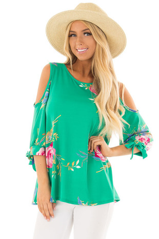 Kelly Green Floral Print Cold Shoulder Top with Tie Sleeves front close up