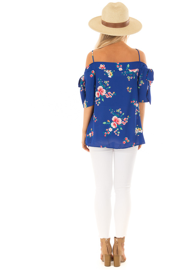 Cobalt Floral Print Cold Shoulder Blouse with Tie Sleeves back full body