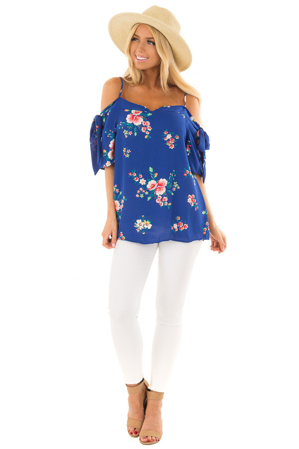 Cobalt Floral Print Cold Shoulder Blouse with Tie Sleeves front full body