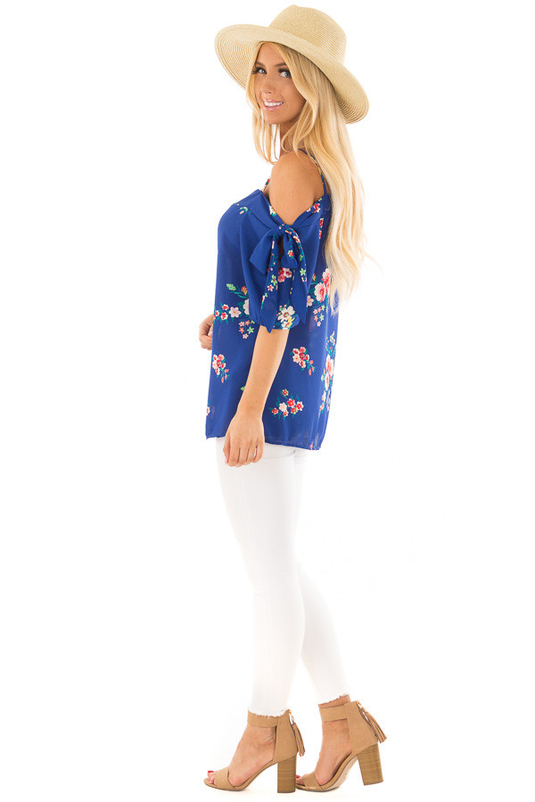 Cobalt Floral Print Cold Shoulder Blouse with Tie Sleeves side full body