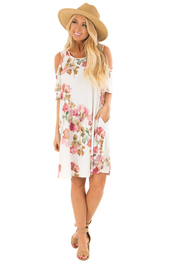 Ivory Watercolor Cold Shoulder Floral Dress with Pockets front full body