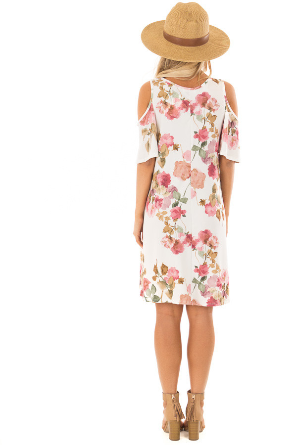 Ivory Watercolor Cold Shoulder Floral Dress with Pockets back full body