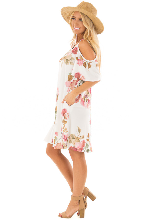 Ivory Watercolor Cold Shoulder Floral Dress with Pockets side full body