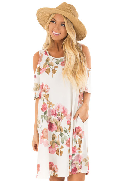 Ivory Watercolor Cold Shoulder Floral Dress with Pockets front close up