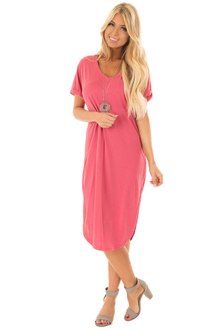 Sweet Berry V Neckline Dress with Side Slits front close up