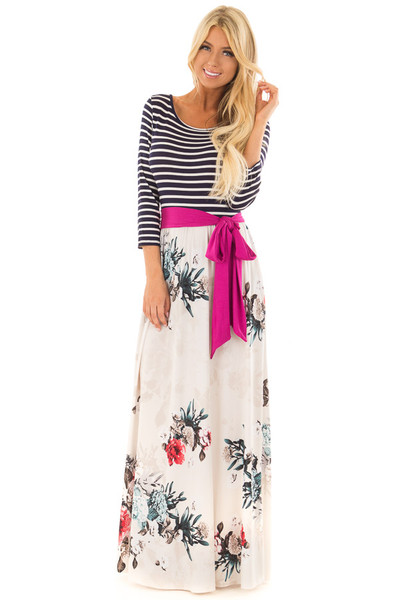 Ivory Floral Maxi Dress with Navy Striped 3/4 Sleeves front full body