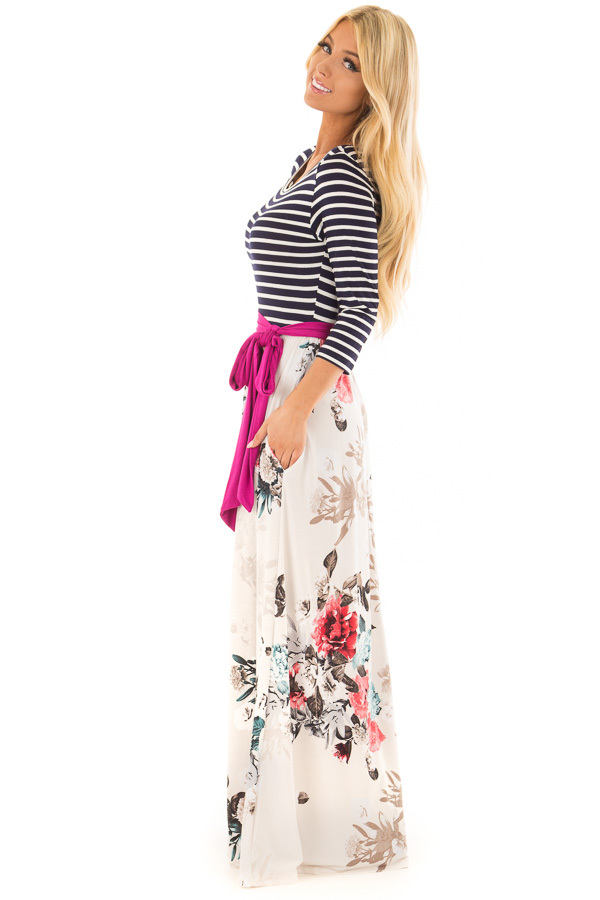 Ivory Floral Maxi Dress with Navy Striped 3/4 Sleeves side full body