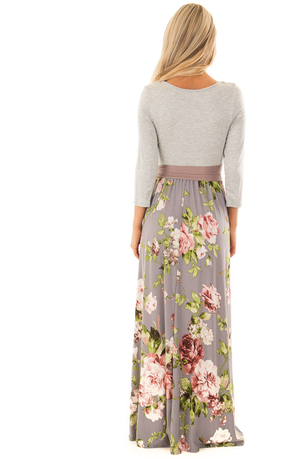 Slate Grey Floral Maxi Dress with Side Pockets and Waist Tie back full body