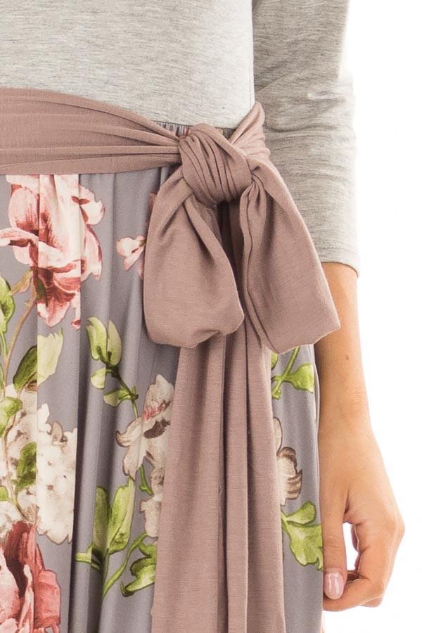 Slate Grey Floral Maxi Dress with Side Pockets and Waist Tie detail