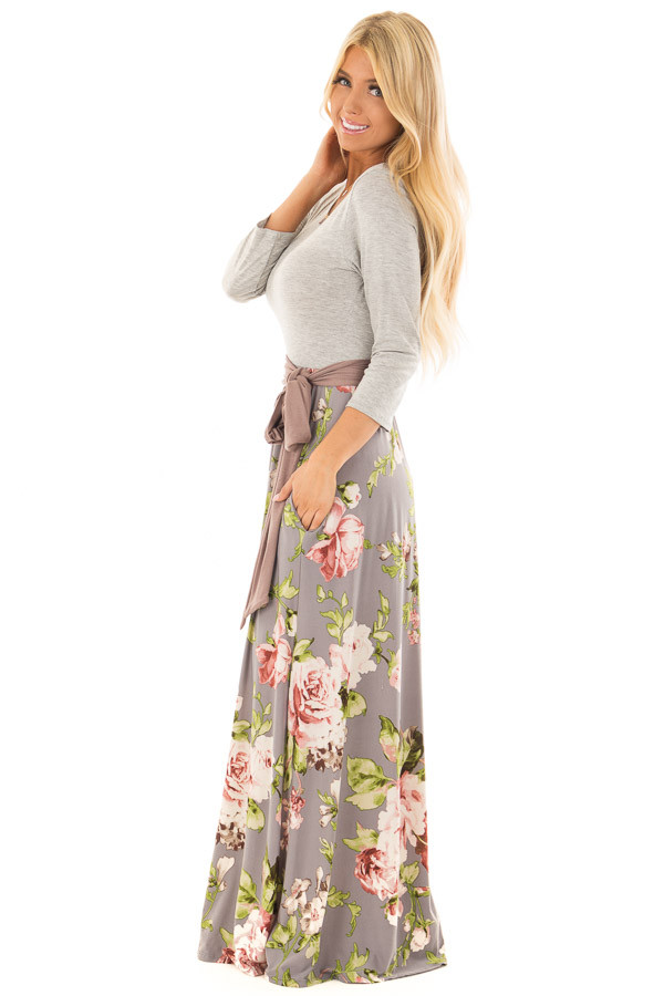 Slate Grey Floral Maxi Dress with Side Pockets and Waist Tie side full body