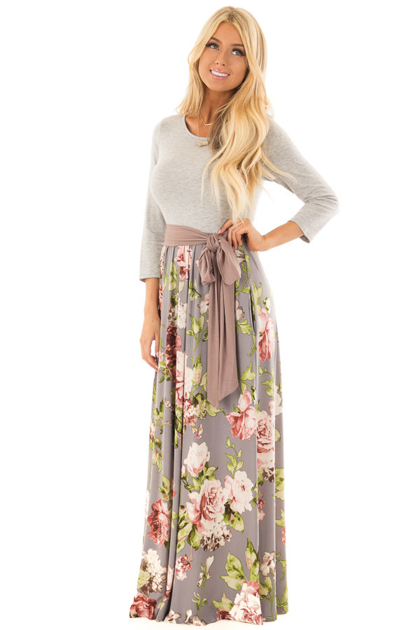Slate Grey Floral Maxi Dress with Side Pockets and Waist Tie front full body