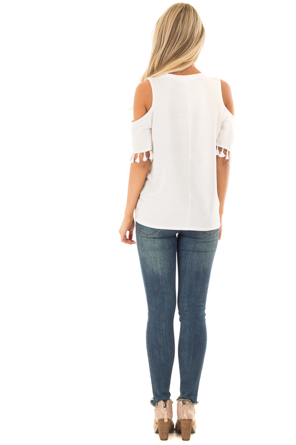 Off White Cold Shoulder Top with Tassel Sleeve Trim back full body