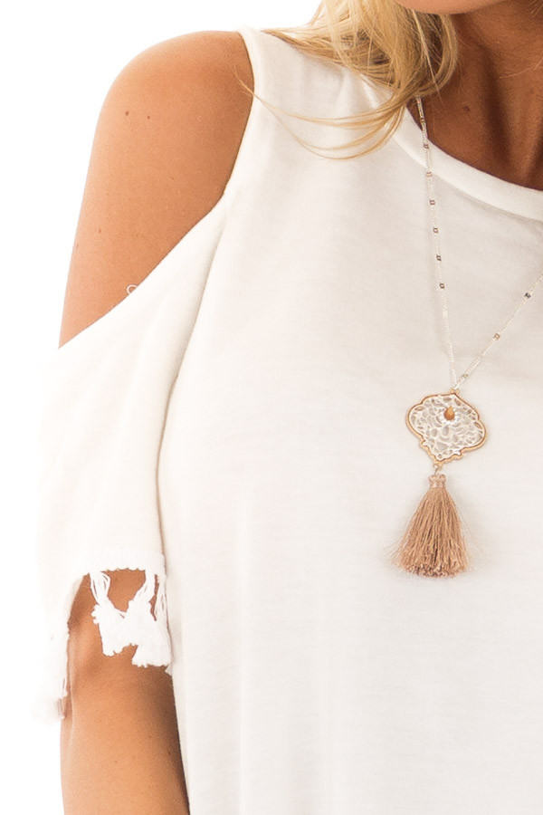 Off White Cold Shoulder Top with Tassel Sleeve Trim detail