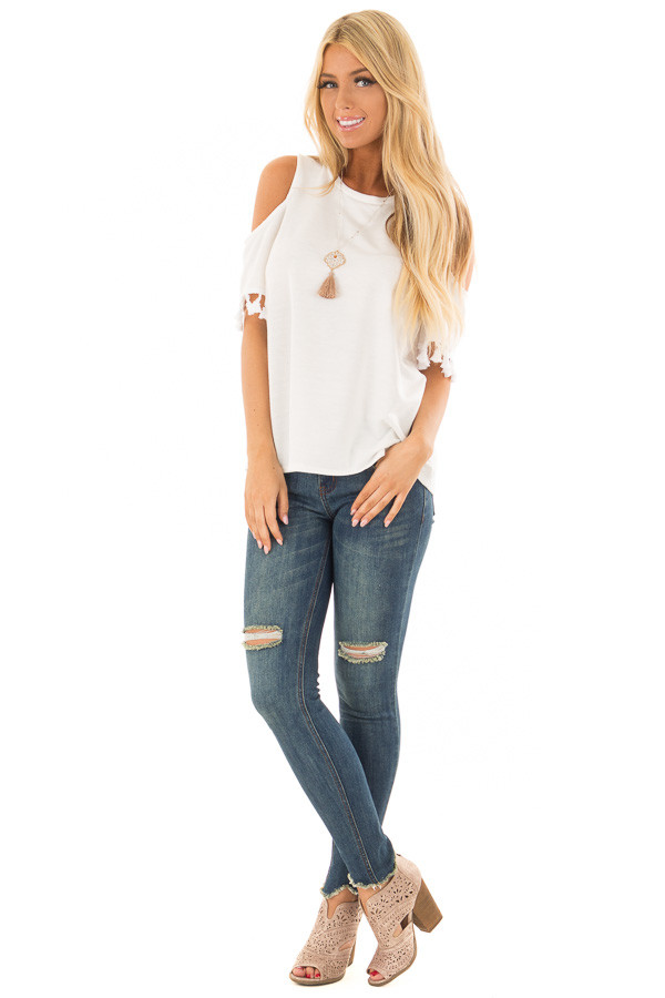 Off White Cold Shoulder Top with Tassel Sleeve Trim front full body