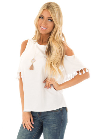 Off White Cold Shoulder Top with Tassel Sleeve Trim front close up