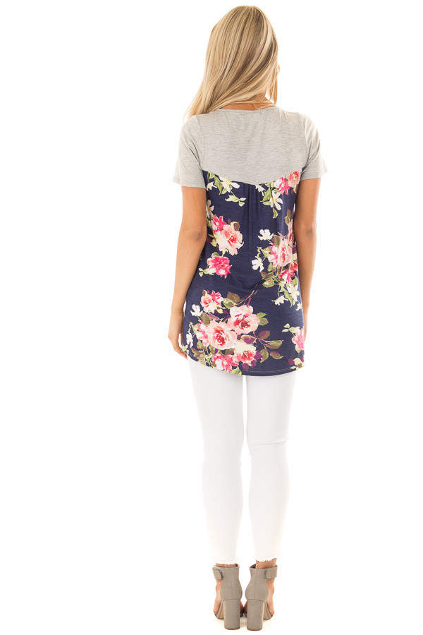 Heather Grey Tee Shirt with Navy Floral Print Contrast back full body