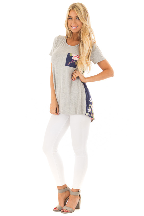 Heather Grey Tee Shirt with Navy Floral Print Contrast front full body