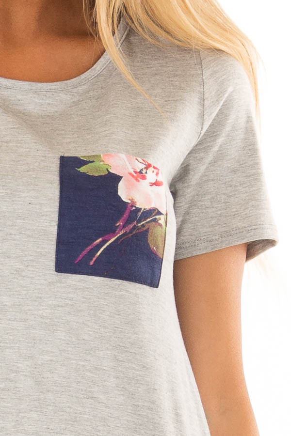 Heather Grey Tee Shirt with Navy Floral Print Contrast detail