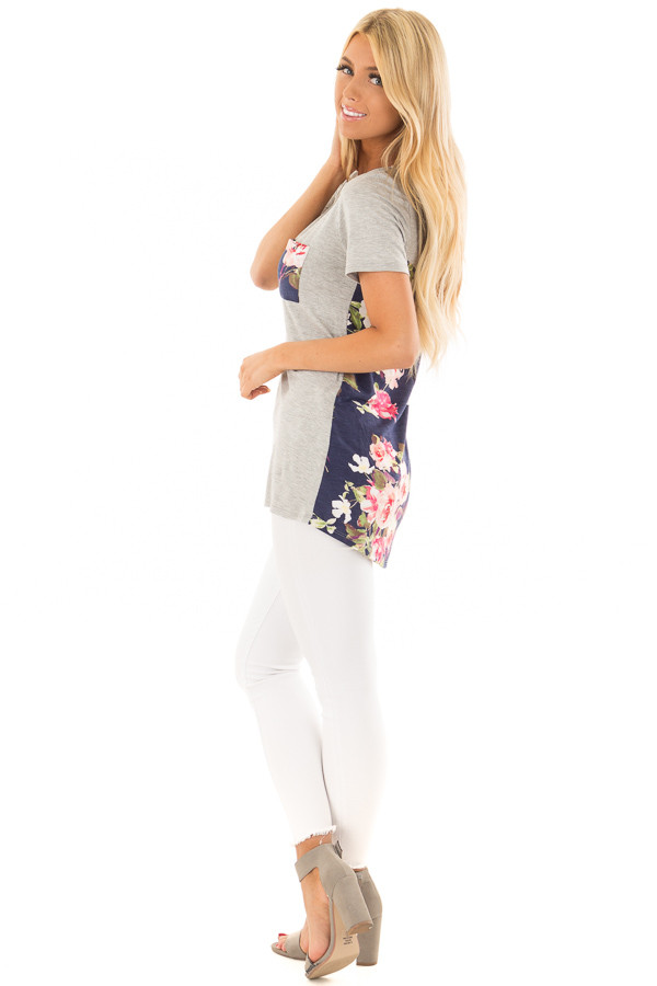 Heather Grey Tee Shirt with Navy Floral Print Contrast side full body