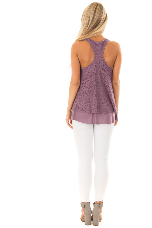 Dusty Violet Racerback Tank Top with Crochet Overlay back full body
