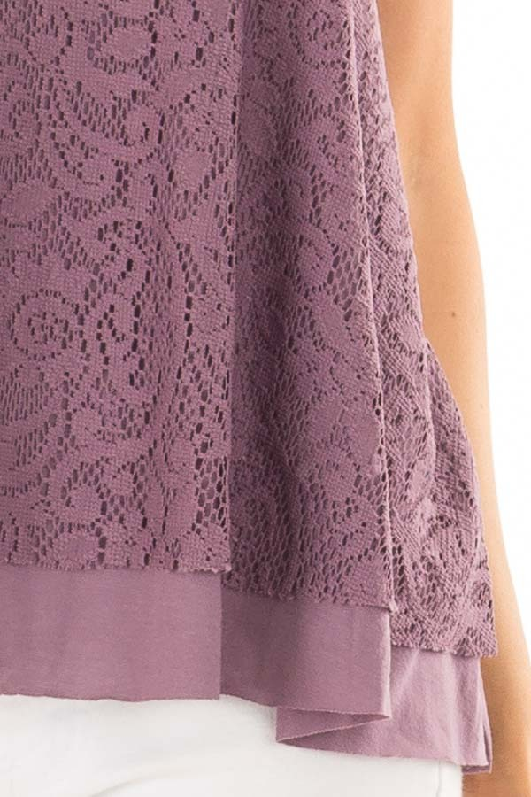 Dusty Violet Racerback Tank Top with Crochet Overlay detail