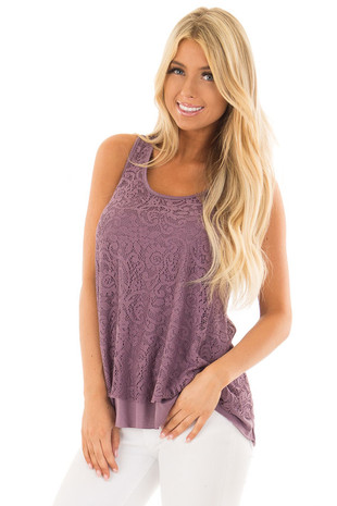Dusty Violet Racerback Tank Top with Crochet Overlay front close up
