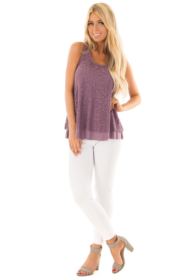 Dusty Violet Racerback Tank Top with Crochet Overlay front full body
