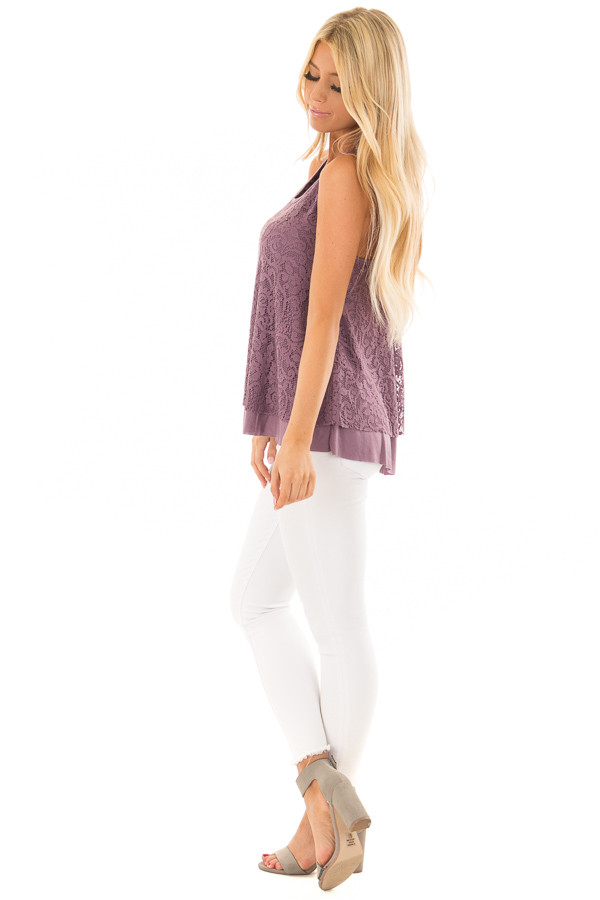 Dusty Violet Racerback Tank Top with Crochet Overlay side full body