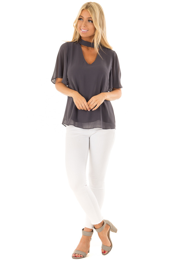 Charcoal Short Sleeve Blouse with Mock Neckline front full body