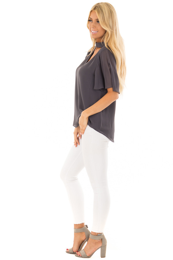 Charcoal Short Sleeve Blouse with Mock Neckline side full body