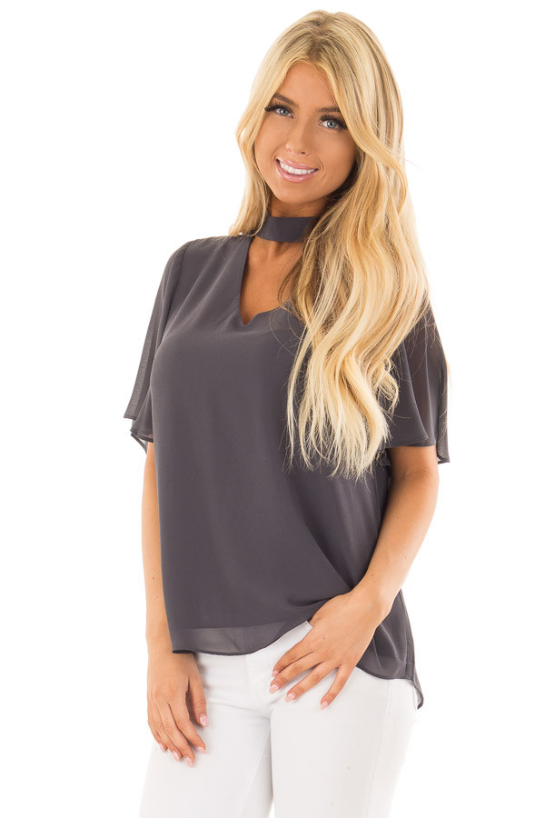 Charcoal Short Sleeve Blouse with Mock Neckline front close up