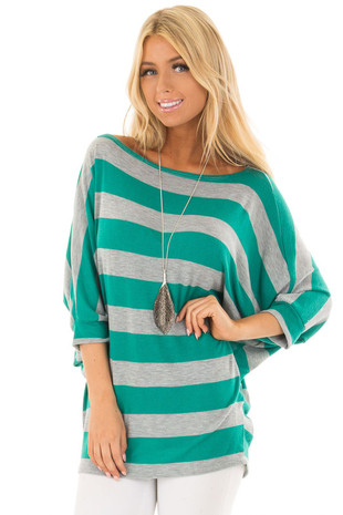Emerald and Heather Grey Striped One Shoulder Dolman Top front close up