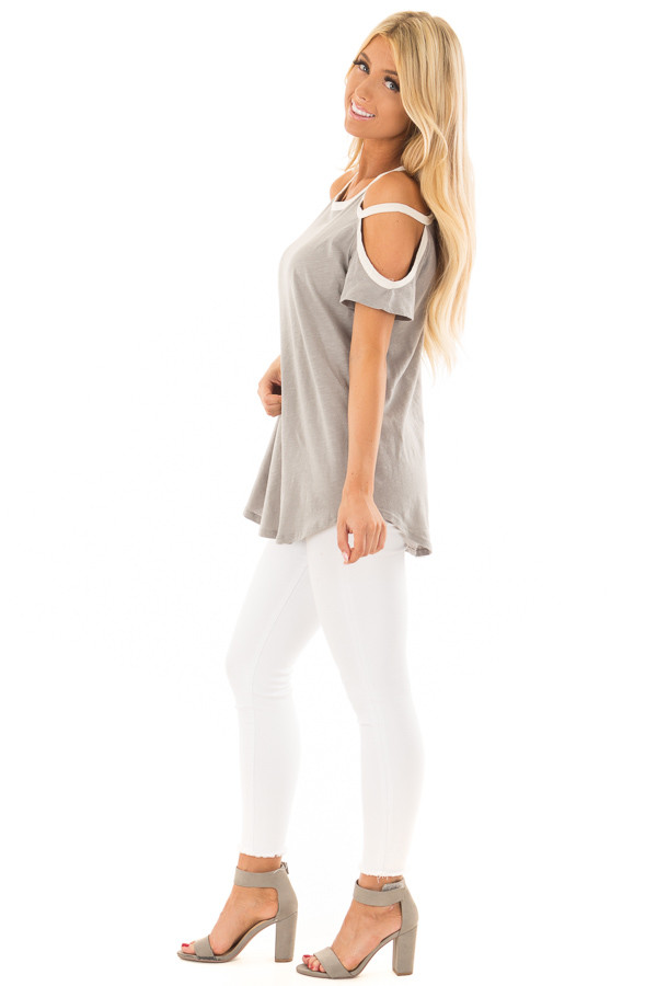 Heather Grey Cold Shoulder Top with Cream Trim side full body